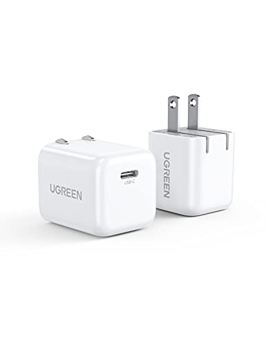 UGREEN USB C Charger 20W PD Fast Charger Block Type C Wall Charger Adapter Foldable Plug Compatbile with iPhone 12/12 Mini/12 Pro/12 Pro Max/SE/11/XR, Galaxy, Pixel 4/3, iPad Pro, Airpods Pro 2-Pack