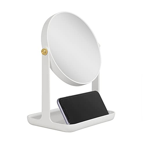 Zadro Cell Phone Stand, Phone Dock Cradle, 2 Sided Swivel Countertop Mirror, Accessory Tray, Stand for Office Desk Vanity Bathroom Home Dorm Room (White, 5X/1X)