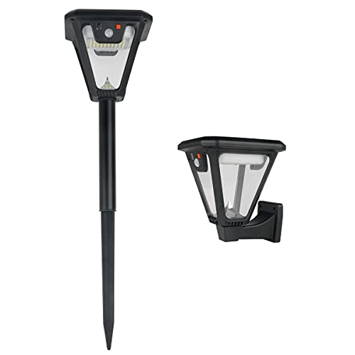 Motion Sensor Outdoor Light Waterproof Porch Light Fixtures 2 Pack Solar Wall Light 2 in 1 Solar Pathway Light 360 LEDs for Porch Garage Doorway Entryway(6500 Cool White Light)
