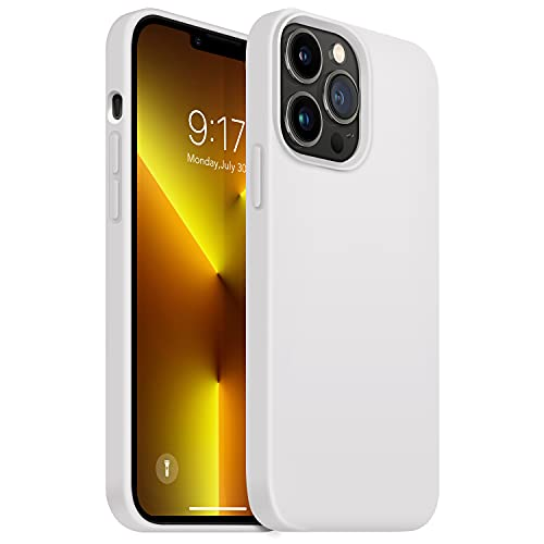 OUXUL Compatible with iPhone 13 Pro Case, Soft Liquid Silicone Phone Cases 6.1 Inch (2021) Ultra Slim Shockproof Cover with Soft Microfiber Lining Full Body Protective Case(Milky White)