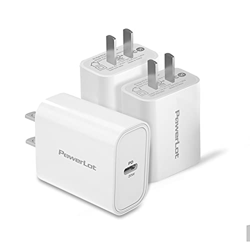 USB C Charger, PowerLot[3 Pack] Durable USB C Power Adapter PD Fast Charger 20W USB C Charger Block Compatible with iPhone 12,12 Pro,12 Pro Max,12 Mini, iPad Pro 2021, AirPods (Cable Not Included)