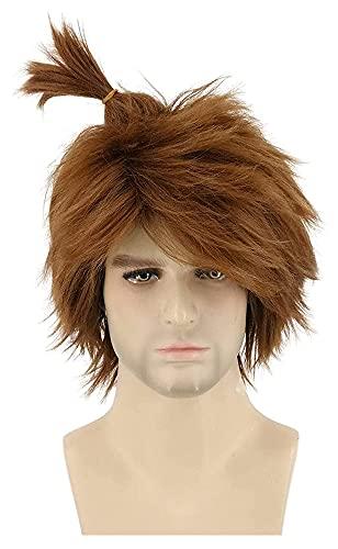 AnimeFiG Men's Short Brown Wig Cosplay Guy Wig Halloween Costume Wigs with Wig Cap