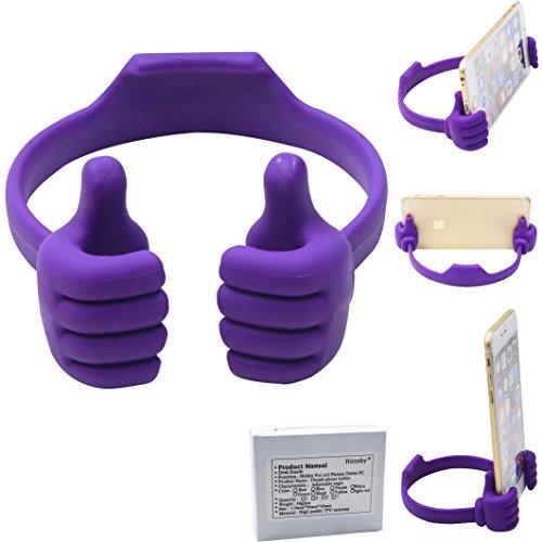 Honsky Thumbs-up Cell Phone Stand Holder, Tablet Stand Cradle for Desk Desktop Smartphone Cellphone Mobile Phone Tablets – Universal Adjustable Flexible, Purple