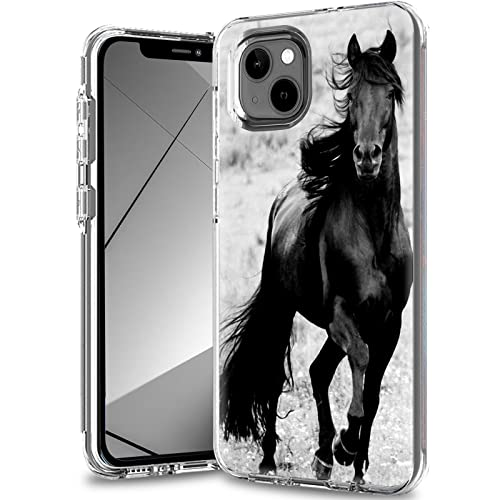 for iPhone 13 Case,Clear Case for iPhone 13 6.1 inch,Slim Dual Layer Hybrid Transparent Soft Silicone Hard PC Shockproof Protective Anti-Scratch Phone Cover for iPhone 13 (2021),Black Horse