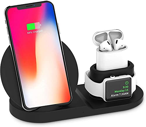 Wireless Charger for Watch and Phone, Fast Wireless Charging Stand 3 in 1, Compatible iPhone 12/SE/11/11 Pro/X/XS/XR/Xs Max/8 Plus,AirPods Pro/2, Apple Watch Series 6/SE/5/4/3/2/1