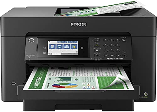 Epson Premium Workforce Pro WF 78 Series Wide-Format All-in-One Color Inkjet Printer I Print Copy Scan Fax I Wireless I Mobile Printing I Auto 2-Sided Printing I 4.3' Touchscreen I ADF (Renewed)