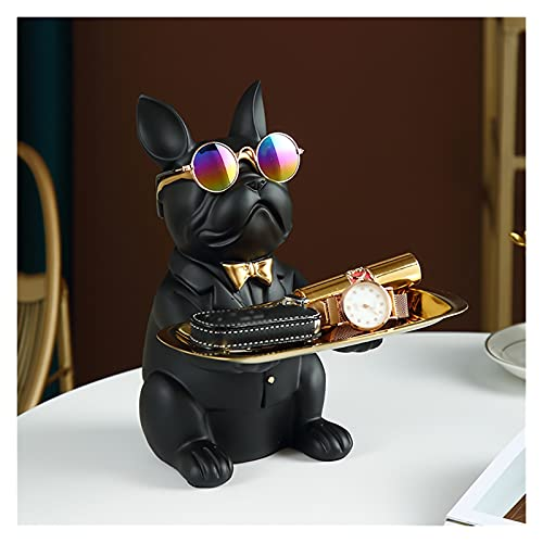WOYIN Bulldog Storage Key Bowl,Candy Dish Earring Jewelry Ornament Organizer Holder Resin Art Sculptures Figurines for Home Living Room Bedroom Decor,Resin Figure Gift (Color : Black)