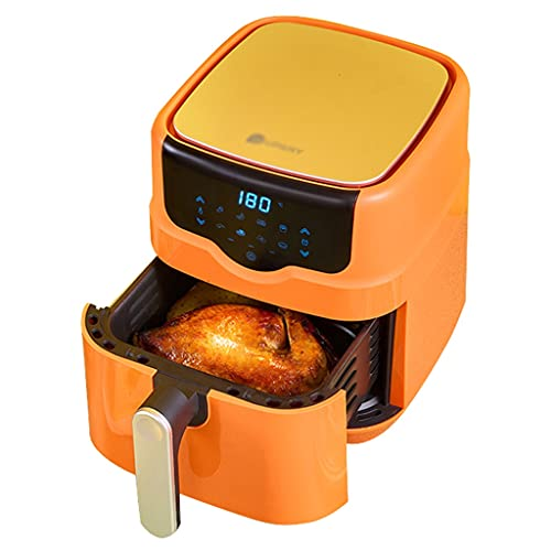 Air Fryers Intelligent Oil-Free Electric Fryer Automatic Air Oven 4.5L Large Capacity Oil-Free Low-Fat Fries Machine Household Oil-Free Electric Fryer (Color : Yellow, Size : 35.524cm)
