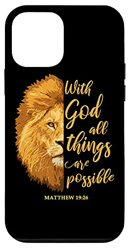 iPhone 12 mini With God All Things Are Possible Matthew 19:26 Lion Bible Case