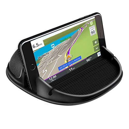Loncaster Car Phone Holder, Car Phone Mount Silicone Car Pad Mat for Various Dashboards, Slip Free Desk Phone Stand Compatible with iPhone, Samsung, Android Smartphones, GPS Devices and More, Black