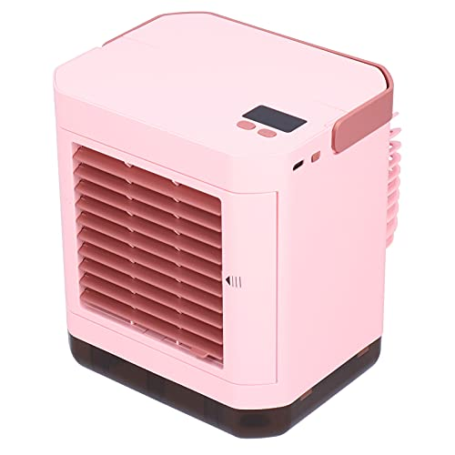 Dpofirs Portable Air Conditioner, Household Mini Electric Fan 1000W Negative Ions Large Capacity Battery for Bedroom, Office and Barbecue(Pink)