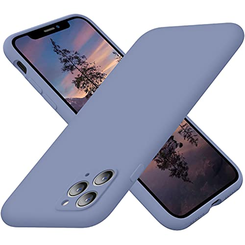 Cordking iPhone 11Pro Case, Silicone Ultra Slim Shockproof Case with Soft Anti-Scratch Microfiber Lining, [Enhanced Camera Protection], 5.8 inch, Lavender Gray
