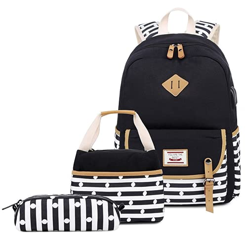 3pcs School Backpack Set Book Bag, Navy Striped Polka Dot Kawaii Daypack USB Port Girl Teen Student, Cute Insulated Lunch Box Bag Canvas Combo Tote Purse Pencil Case, Back School Supply (Black)