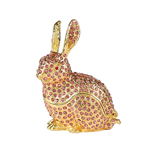 FASSLINO Cute Rabbit Jewelry Trinket Box with Hinged Animal Ornaments Gift for Home Decor