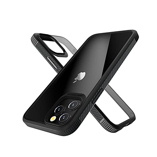 Danzel New Technology [Anti-Yellowing PC Back] Designed for iPhone 13 Pro Case Crystal Clear, Black Silicon Non-Slip Shockproof Bumper Cover