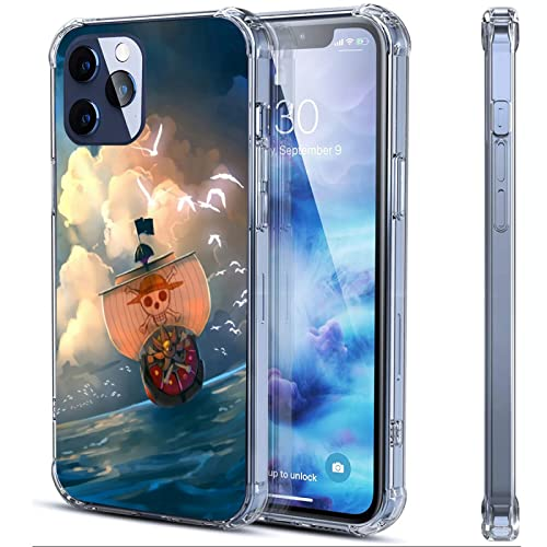 Anime Clear Phone Case Compatible with iPhone 13 Pro Max Manga The Straw hat Pirates Character Design Flexible&Soft TPU Thin Shockproof Transparent Bumper Protective Cover Anime-3