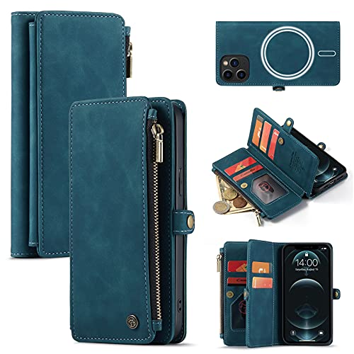 Caseme Magnetic Wallet Case Designed for iPhone 13 Pro (6.1') Flip Case,Compatible with MagSafe Charger,PU Leather Zipper Folio Protective Case with Magnetic Closure and Card Holder (Blue)