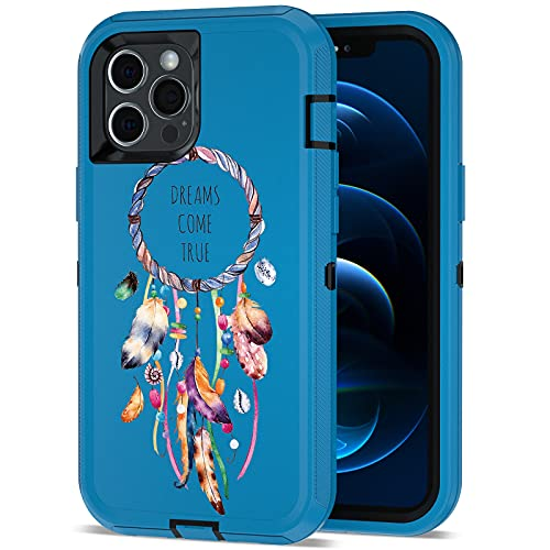 ACAGET Compatible with iPhone 12 Pro Max Case, Heavy Duty Protective Armor Shockproof Case Color Paint Dual Layer Rubber TPU + PC Cover Bumper Phone 6.7inch Cases for iPhone 12 Pro Max Blue/Black