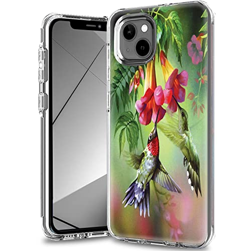 for iPhone 13 Case,Clear Case for iPhone 13 6.1 inch,Slim Dual Layer Hybrid Transparent Soft Silicone Hard PC Shockproof Protective Anti-Scratch Phone Cover for iPhone 13 (2021),Flower Hummingbird