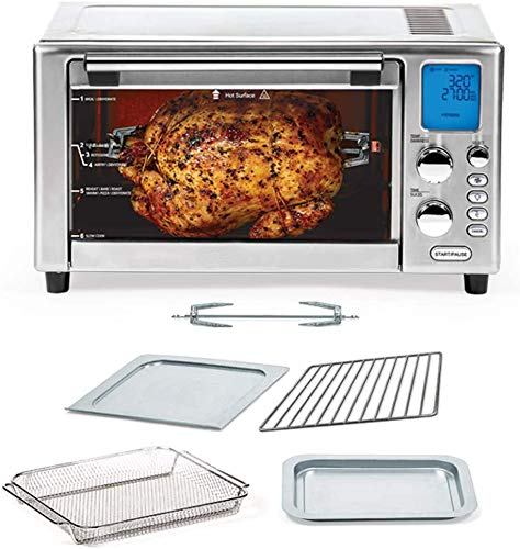 Power Air Fryer 360 Better Than Convection Ovens Hot Air Fryer Oven, Toaster Oven, Bake, Broil, Slow Cook and More Food Dehydrator, Rotisserie Spit, Pizza Function Cookbook Included Stainless Steel