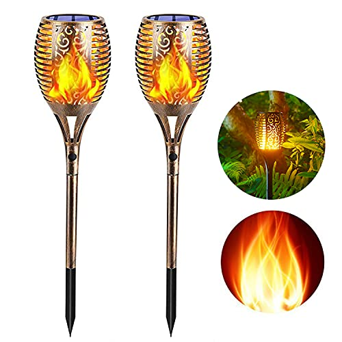Solar Torch Lights Outdoors with 96LED, 2 PCS Waterproof Flickering Flame Light with 3 Lights Modes Landscape Decoration Light Dusk to Dawn Auto On/Off Spotlight for Yard Pool Garden Patio Deck