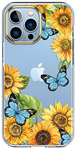 luolnh Compatible with iPhone 13 Pro Max Case with Flower,for Girly Women,Shockproof Clear Floral Pattern Hard Back Cover for iPhone 13 Pro Max 6.7 inch 2021-Sunflower&Butterfly