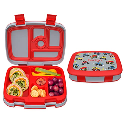 Bentgo Kids Prints Leak-Proof, 5-Compartment Bento-Style Kids Lunch Box - Ideal Portion Sizes for Ages 3 to 7 - BPA-Free, Dishwasher Safe, Food-Safe Materials - 2021 Collection (Trucks)
