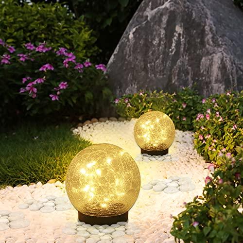 "Solar Ball Lights Outdoor, Cracked Glass Ball Garden Solar Lights Decorative Backyard Lights Waterproof Solar Lights Patio Decor for Pathway Patio Yard Lawn,2 Globe (4.7"")"