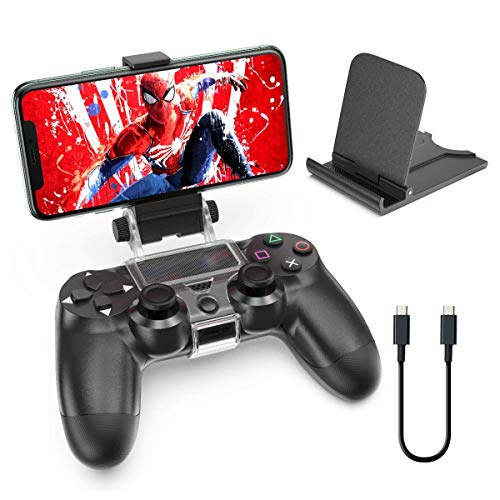 OIVO PS4 Controller Phone Mount Clip for Rmote Play, Mobile Gaming Clamp Bracket Phone Holder with Adjustable Stand Compatible with Dualshock 4 /PS4 Slim/PS4 Pro Controllers